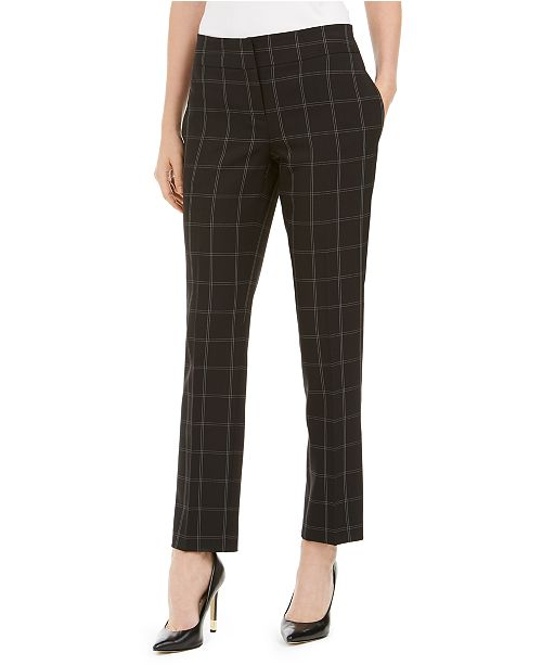 Kasper Petite Windowpane-Plaid Dress Pants