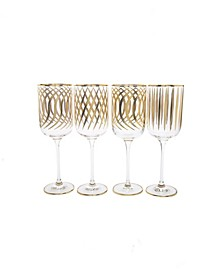 Set of 4 Mix and Match Design Water Glasses with 24K Gold Design