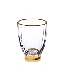 Set of 6 Straight Line Textured Stemless Wine Glasses with Vivid Gold Tone Base and Rim