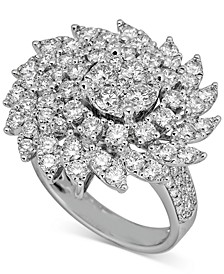 Diamond Swirl Cluster Statement Ring (3 ct. t.w.) in 14k White Gold