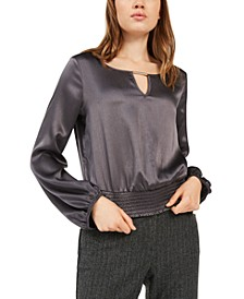 Juniors' Shirred-Hem Keyhole Top