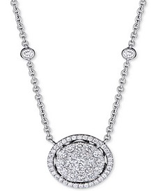 """Diamond Oval Cluster Pendant Necklace (2 ct. t.w.) in 14k White Gold, 16"""" + 2"""" extender"""