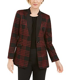 Plaid Notched-Collar Blazer