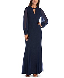 Long-Sleeve Keyhole Gown