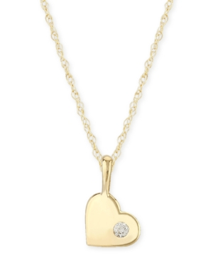 Diamond Accent Solid Heart Pendant in 14K Yellow Gold