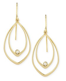 Diamond Accent Twin Drop Earrings in 14K Yellow Gold