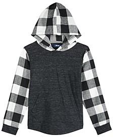 Big Boys Lewiston Colorblocked Mix-Media Hooded Shirt