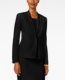 Petite One-Button Crepe Blazer