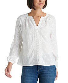 Embroidered Cotton Split-Neck Top