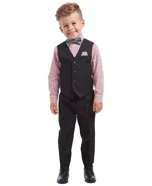 Nautica Little Boys 5-Pc. Textured Tailored Vest Set