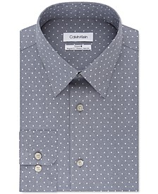 Calvin Klein Men's Steel Classic/Regular-Fit Non-Iron Performance Stretch Diamond Geo-Print Dress Shirt