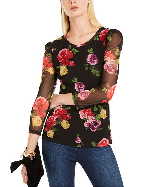 INC International Concepts INC Petite Floral Print Sheer-Sleeve Top, Created For Macy's