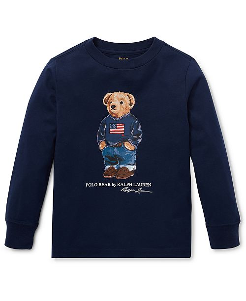 Polo Ralph Lauren Little Boys Sweater Bear Cotton Long-Sleeve T-Shirt, Created For Macy's