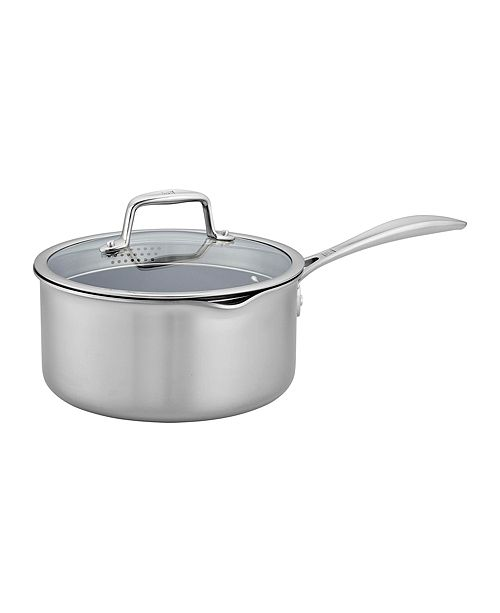 J.A. Henckels Zwilling Clad CFX 3-Qt. Saucepan with Strainer Lid and Pouring Spouts