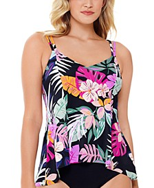 Deco Printed Princess-Seam Tankini Top, Created For Macy's