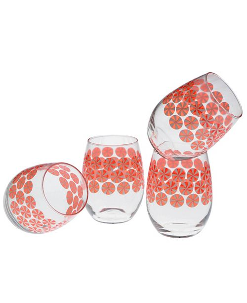 Culver Peppermints Stemless Wine Glass 15-Ounce Set of 4