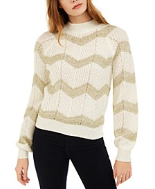 Juniors' Metallic Chevron Sweater