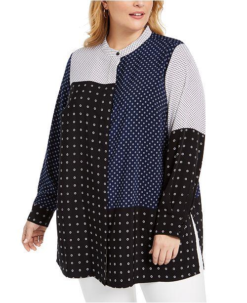 Alfani Plus Size Mixed-Print Tunic Top, Created for Macy's