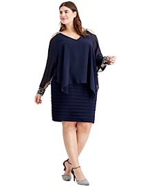 Plus Size Cold-Shoulder Popover Dress