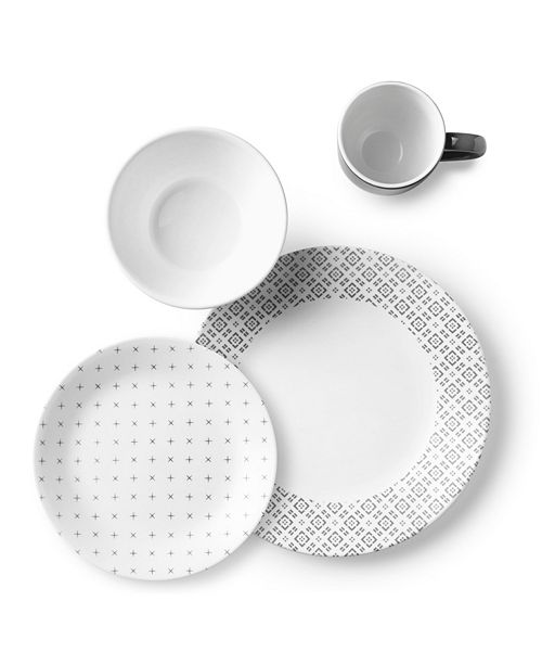 Corelle Boutique 16 Piece Set, Farmstead Dark Grey