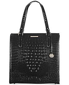 Black Melbourne Embossed Leather Large Caroline Satchel