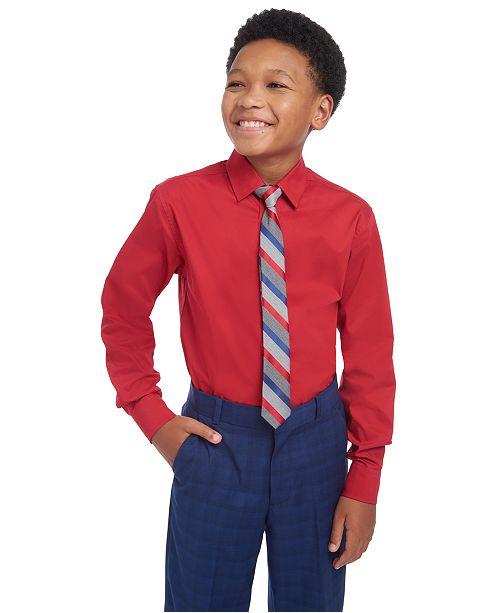 Tommy Hilfiger Big Boys 2-Pc. THFlex Stretch Poplin Shirt & Stripe Tie Set