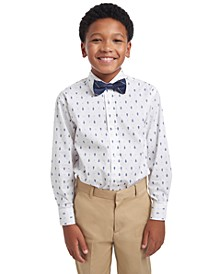 Big Boys 2-Pc. Regular-Fit Tree-Print Dress Shirt & Plaid Bow Tie Set