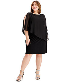 MSK Plus Size Embellished Chiffon-Overlay Dress