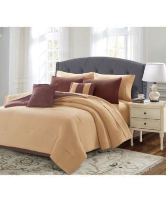 Solid 9 Piece Bed In A Bag Set, Queen