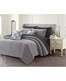 Solid 9 Piece Bed In A Bag Set, Queen