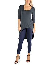 Women Long Sleeve High Low Rounded Hemline Tunic Top