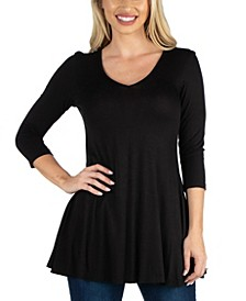 Women V Neck Swing Tunic Top