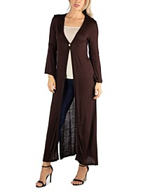 Women Long Sleeve Maxi Length Cardigan