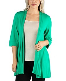 Open Front Elbow Length Sleeve Women Cardigan