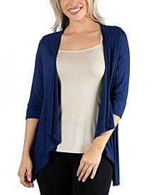 Elbow Length Sleeve Open Cardigan