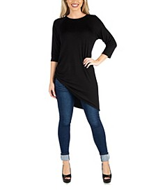 Mid Thigh Asymmetric Raglan Sleeve Top