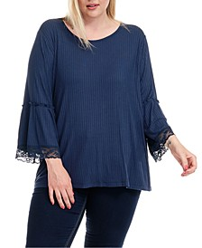 Plus Size Ribbed Bell-Sleeve Top