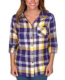 UG Apparel Women's LSU Tigers Flannel Boyfriend Plaid Button Up Shirt