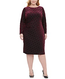Plus Size Long-Sleeve Velvet Burnout Sheath Dress