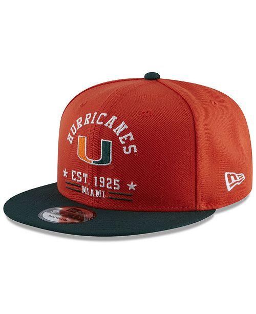 New Era Miami Hurricanes Lifestyle Arch 9FIFTY Snapback Cap