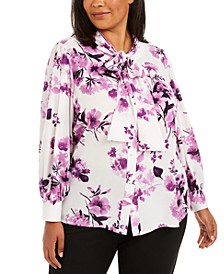 Plus Size Floral Bow-Neck Button-Up Top