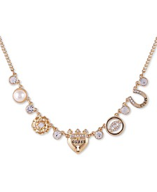 "Gold-Tone Crystal & Imitation Pearl Multi-Charm Necklace, 16"" + 2"" extender"