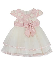 Baby Girls Tiered Mesh Floral Embroidered Dress