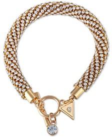 Gold-Tone Crystal Twisted Tubular Bracelet