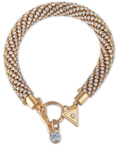 GUESS Gold-Tone Crystal Twisted Tubular Bracelet
