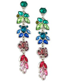 Gold-Tone Multicolor Crystal Cluster Linear Drop Earrings