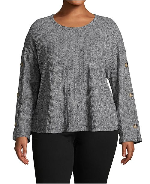 John Paul Richard Plus Size Ribbed Button-Sleeve Top