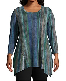 Plus Size Striped Knit Asymmetrical-Hem Top