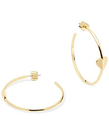 Medium Gold-Tone Heart Hoop Earrings, 1.5""