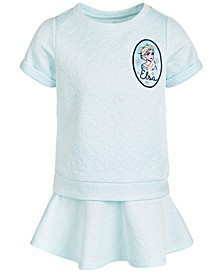 Little Girls 2-Pc. Frozen Elsa Embossed Top & Skirt Set